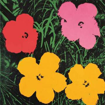 Flowers, 1964  (1 red, 1 pink, 2 yellow) of artist Andy Warhol as framed image