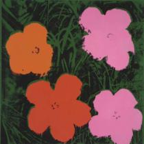 Andy Warhol - Flowers, 1964  (1 orange, 1 red, 2 pink)