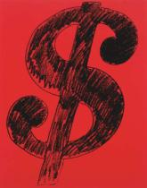 Andy Warhol - Dollar Sign, 1981 (black on red)