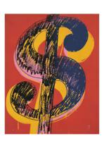 Andy Warhol - Dollar Sign, 1981 (black and yellow on red)