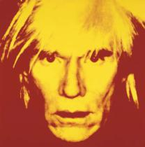 Andy Warhol - Self-portrait, 1986 (yellow on red)