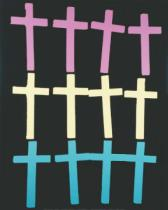 Andy Warhol - Crosses, c. 1981-82 (rows/pink, yellow, teal)