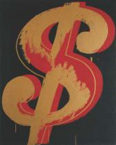 Andy Warhol - Dollar Sign, 1981 (red and orange)