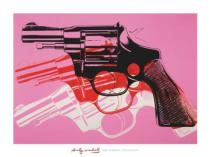 Andy Warhol - Gun, c. 1981-82  (black, white, red on pink)