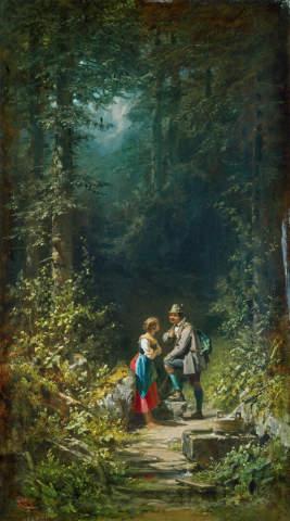 Kunstdruck, individuelle Kunstkarte: Carl Spitzweg, Begegnung im Walde - Jäger und Sennerin