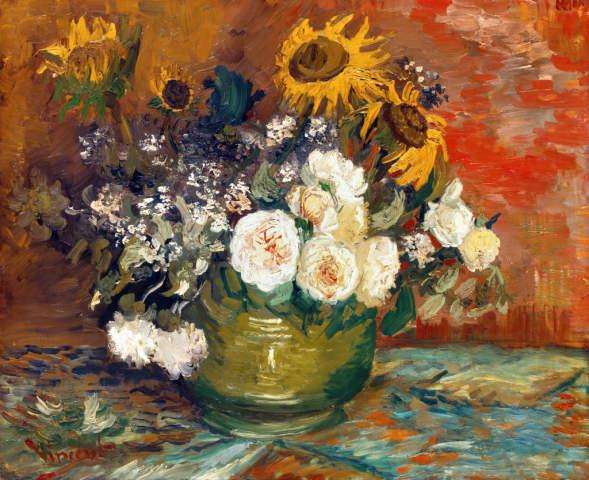 Van Gogh Schale Mit Sonnenblumen Rosen Und Anderen Blumen Kunstdruck