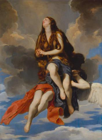 Guido Cagnacci: Hl. Maria Ägyptiaca von Engeln getragen. Kunstdruck,  Glasbild