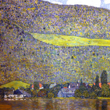 Unterach on the Attersee of artist Gustav Klimt as framed image