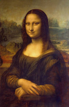Mona Lisa of artist Leonardo da Vinci as framed image