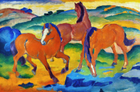 Fine Art Reproduction, individual art card: Franz Marc, Red Horses (Grazing Horses IV)