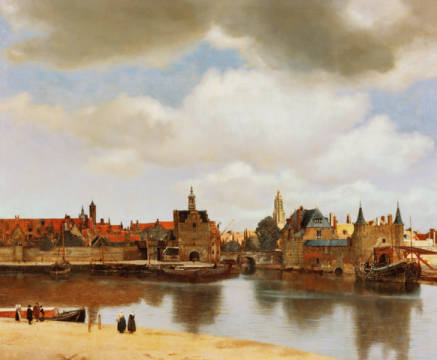 View of Delft of artist Jan Vermeer van Delft as framed image