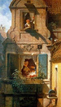 Fine Art Reproduction, individual art card: Carl Spitzweg, The Intercepted Love Letter