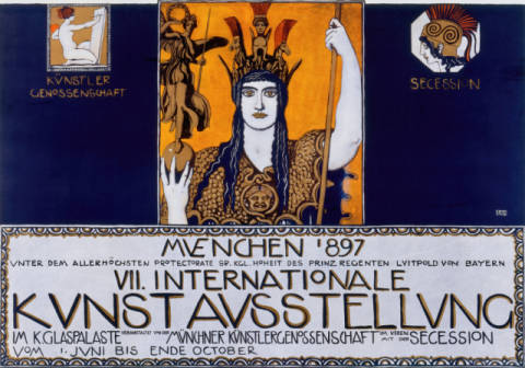 Originalplakat für die VII. Internationale Kunstausstellung 1897 of artist Franz von Stuck as framed image