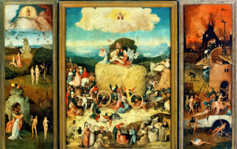 Triptychon, The Haywagon of artist Hieronymus Bosch as framed image
