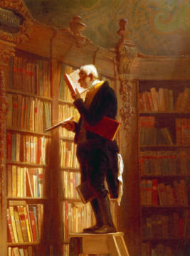 Detail. Der Bücherwurm of artist Carl Spitzweg as framed image