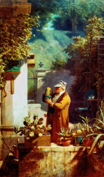 The Pastor as Cactus Lover of artist Carl Spitzweg as framed image