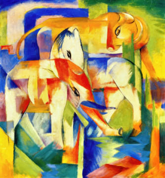 Fine Art Reproduction, individual art card: Franz Marc, Elefant, Pferd, Rind