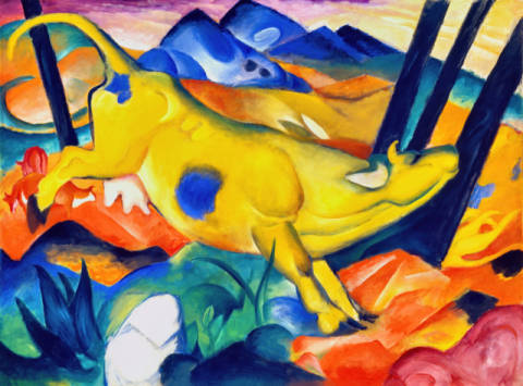 The yellow cow of artist Franz Marc as framed image