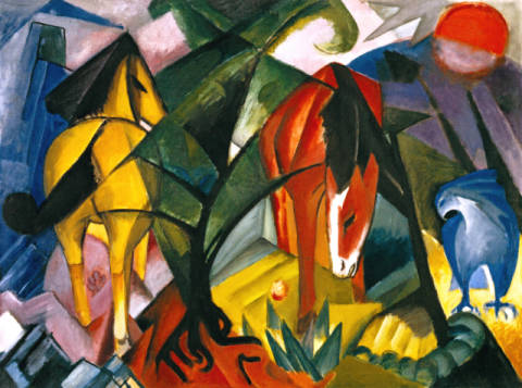Fine Art Reproduction, individual art card: Franz Marc, Pferde und Adler