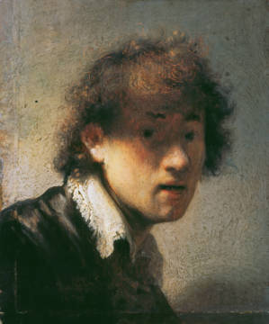 Selfportrait as a youth of artist Harmensz van Rijn Rembrandt as framed image
