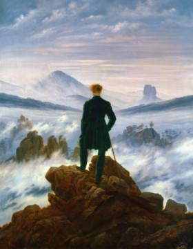 The Wanderer above the Sea of Fog, 1818 of artist Caspar David Friedrich as framed image