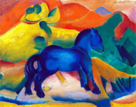 Blue Horse, children's picture of artist Franz Marc as framed image