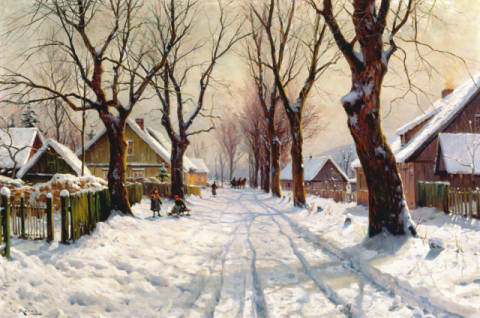 Winter im Dorf of artist Walter Moras as framed image