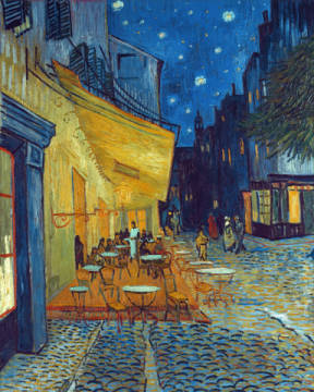 Terrace of the Cafe at the Place du Forum in Arles in the Evening of artist Vincent van Gogh as framed image