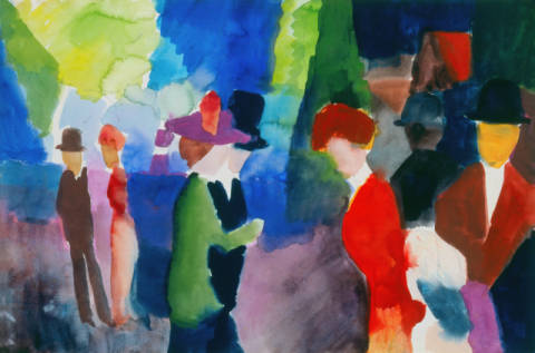 Fine Art Reproduction, individual art card: August Macke, Leute, die sich begegnen
