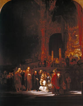 Fine Art Reproduction, individual art card: Harmensz van Rijn Rembrandt, Christus und die Ehebrecherin