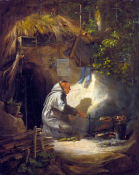 Fine Art Reproduction, individual art card: Carl Spitzweg, Eremit, Hühnchen bratend