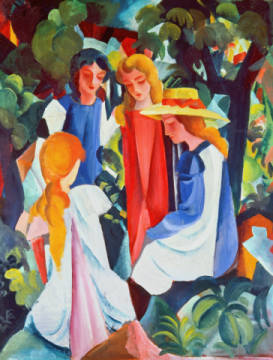 Fine Art Reproduction, individual art card: August Macke, Vier Mädchen