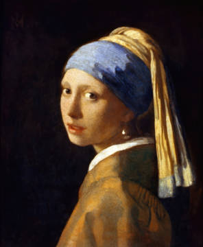 Girl with a Pearl Earring, c.1665-6 of artist Jan Vermeer van Delft as framed image