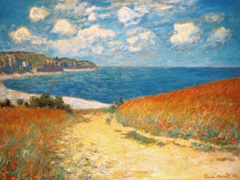 Fine Art Reproduction, individual art card: Claude Monet, Strandweg zwischen Weizenfeldern bei Pourville