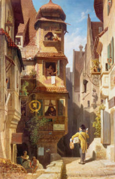 The Postman in Rosental of artist Carl Spitzweg as framed image