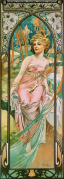Fine Art Reproduction, individual art card: Alfons Maria Mucha, Awakening Morning