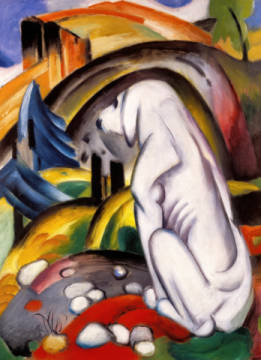 Fine Art Reproduction, individual art card: Franz Marc, The white dog (dog in the world)