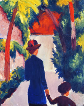 digitaler Kunstdruck, individuelle Kunstkarte: August Macke, Mutter und Kind im Park