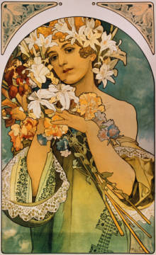 Fine Art Reproduction, individual art card: Alfons Maria Mucha, Blume