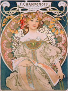 Plakat für F. Champenois of artist Alfons Maria Mucha as framed image