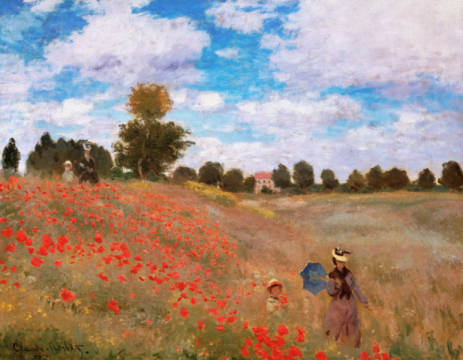 Poppy field near Argenteuil (red variant) of artist Claude Monet as framed image