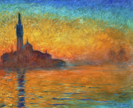 View of San Giorgio Maggiore, Venice by Twilight, 1908 of artist Claude Monet as framed image