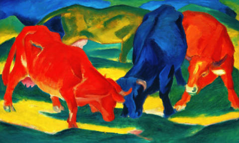 Fine Art Reproduction, individual art card: Franz Marc, Kämpfende Kühe