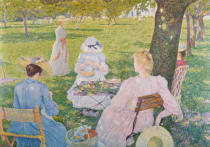 Theodore van Rysselberghe - Family in the Orchard, 1890