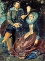 Peter Paul Rubens - Self portrait with Isabella Brandt, his first wife, in the honeysuckle bower, c.1609