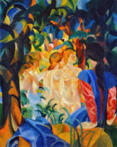August Macke - Bathers with a town background