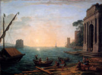 Claude Lorrain - A seaport at sunrise