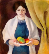August Macke - Portrait with apples: wife of the artist