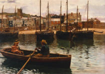 William Henry Bartlett - Im Hafen von St.Ives, Cornwall