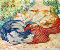 Franz Marc - Cats on red cloth